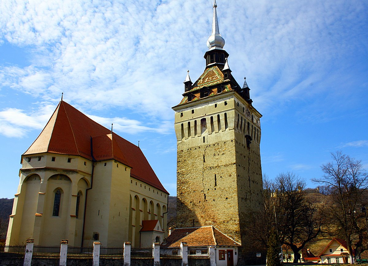 The Saschiz Evangelical Church and its massive defense tower